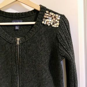American Eagle rhinestone zip front cardigan S/P